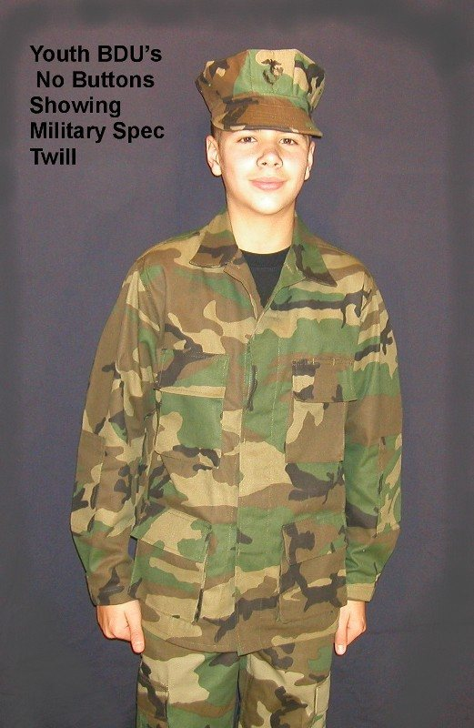 BDU Youth Military Spec Blouse Shirt *NO BUTTONS SHOWING